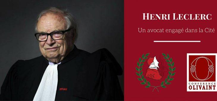 Henri Leclerc reçu en Sorbonne par la Conférence Olivaint – 04/10/2017 à 19h30